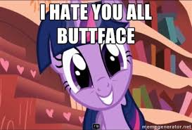 Mlp Fim Meme - i hate you all buttface twilight mlp fim meme generator