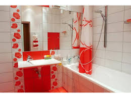 small bathroom design ideas small tiled bathroom in red ans white tones with mirror