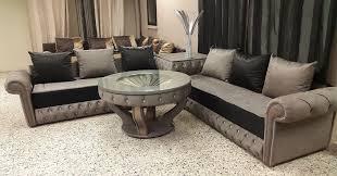 canapé marocain moderne chester similicuir bengal noir gris 2 salon marhaba salon