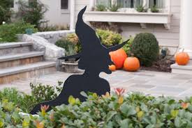 back to organic size cat and witch lawn decorations