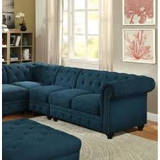 Tufted Rolled Arm Sofa Furniture Of America Stanford Ii Sectional Set Dark Teal Linen