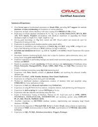 oracle dba resume oracle dba