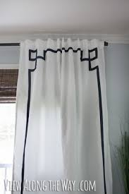 navy and cream trellis drapes great idea to trim out white drapes