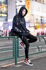 frameout japan designer in harajuku w kanji print hoodie