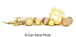 gold bauble border of gold stock