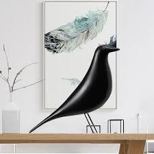 modern deco desktop ornaments black white bird figurine