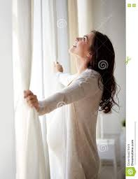 At Home Curtains Happy Pregnant Woman Opening Curtains At Home Stock Photo Image