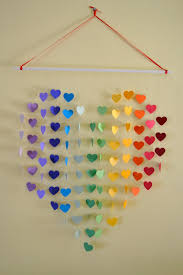 large rainbow heart mobile wall hanging baby shower unique