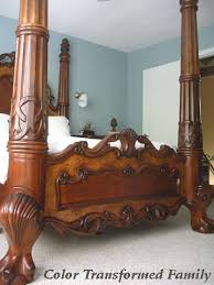 old world style bed with ikea light beside bed paint color