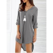 casual going out asymmetrical v neck casual knee length going out dress gray
