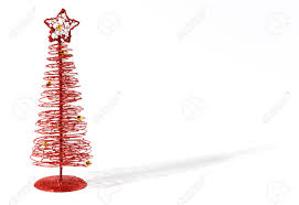 modern red christmas tree made of twirled wire topped with a