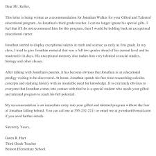 download gifted and talented recommendation letter sample for free