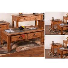 Occasional Table And Chairs Sedona Slate Top Occasional Table Set Cocktail Table And Two End