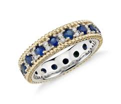 white gold eternity ring sapphire and diamond roped eternity ring in 18k yellow and white