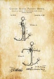 Nautical Decor Ship U0027s Anchor Patent Print Vintage Anchor Anchor Blueprint
