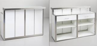 Retail Desk Modern White Gloss Counters Brushed Metal Retail Fixtures