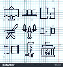 set 9 interior outline icons such stock vector 652355860