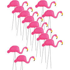 of 12 x 26 pink flamingo decoration yard ornaments