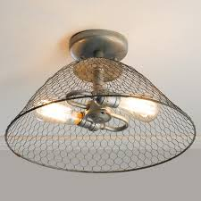 Wiring A Ceiling Light Fixture Rustic Chicken Wire Dome Ceiling Light Rustic Chic Decor