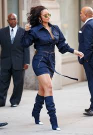 rihanna u0027s denim boots look like leg warmers and honestly is that