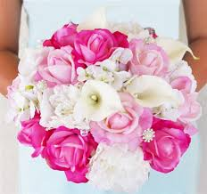 hot pink roses white and hot pink roses callas hydrangeas and peonies