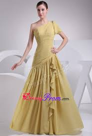 one shoulder yellow prom dress for girls floor length