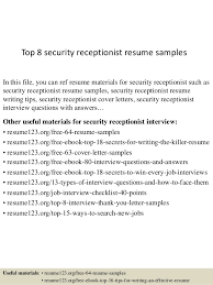 Resume Templates For Receptionist Top 8 Security Receptionist Resume Sles 1 638 Jpg Cb 1438244034