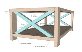 build a rustic x coffee table with free easy plans home design
