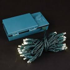 50 led battery operated lights warm white on green wire