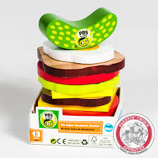 the official pbs kids shop pbs kids wooden toy sandwich stacker