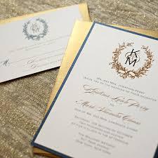 monogram wedding invitations navy blue and gold wedding invitations vintage wreath wedding