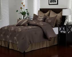 Cal King Comforter Set Dark Brown Bedding Set With Light Brown Combinations Also Leaves