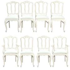 Dining Chairs Shabby Chic Dining Table Set Eight French White Painted Open Back Dining