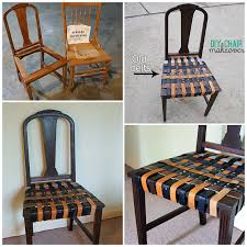 how to renovate an old chair with belts step by step diy tutorial