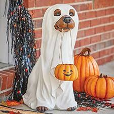Whimsical Outdoor Halloween Decorations by Amazon Com Whimsical Dog Dressed As Ghost Statue Outdoor