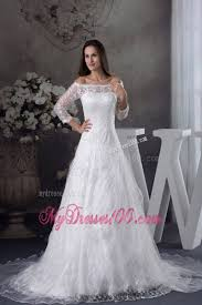 the shoulder 3 4 length sleeve lace white wedding dress
