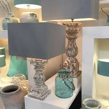 Square Lampshade Coastal Lamp And Shade White Washed Chunky Lamp Base With Fresh