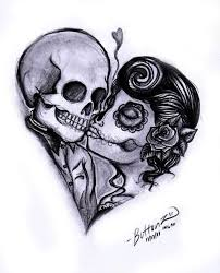 day of the dead couple in heart shape tattoo design