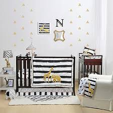 Black And Gold Crib Bedding Silhouettes Of Zebras Elephants Giraffes And Lions Plus A Bold