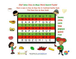 holiday 6 cinco de mayo easy mexican foods word search for kids