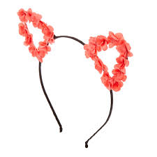 claires headbands coral flower cat ears black headband s us