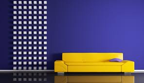 Modern Yellow Sofa Yellow Sofa With Purple Wall Interior Design