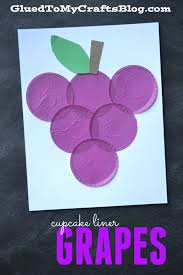 cupcake liner grapes kid craft glued to my crafts