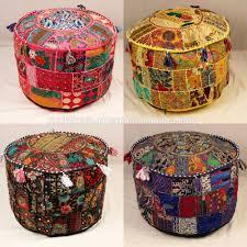 Vintage Ottoman by Antique Bohemian Pouf Patchwork Sari Bean Bag Indian Seating