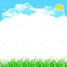 Gallery For Gt Light Blue by Green Grass On Blue Sky Background With Clouds Royalty Free