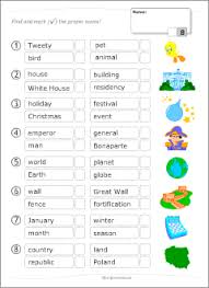 common vs proper nouns printable grammar tests for kids