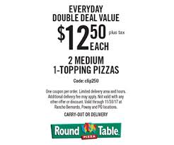 Round Table Pizza Coupon Codes Localflavor Com Round Table Pizza 10 For 20 Worth Of Pizza