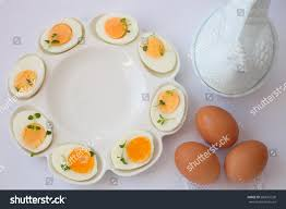 ceramic deviled egg plate boiled eggs white ceramic deviled egg stock photo 580661530