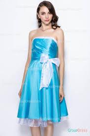 strapless bateau neck blue white short pretty bridesmaid dress