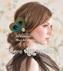 feather hair clip peacock feather bridal hair accessories feather hair